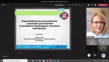 """Pani Jolanta Hubert z PPWIS w Rzeszowie podczas wykładu """"Odpowiedzialność pracodawców i obowiązki pracowników w kontekście zapobiegania chorobom zawodowym."""